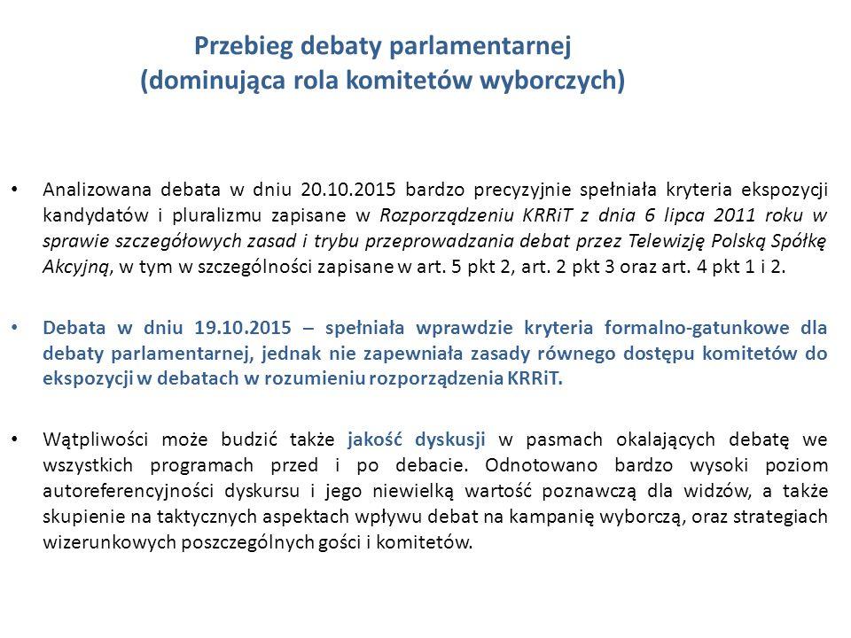 Przebieg debaty parlamentarnej (dominująca rola komitetów wyborczych) Analizowana debata w dniu 20.10.2015 bardzo precyzyjnie spełniała kryteria ekspozycji kandydatów i pluralizmu zapisane w Rozporządzeniu KRRiT z dnia 6 lipca 2011 roku w sprawie szczegółowych zasad i trybu przeprowadzania debat przez Telewizję Polską Spółkę Akcyjną, w tym w szczególności zapisane w art.