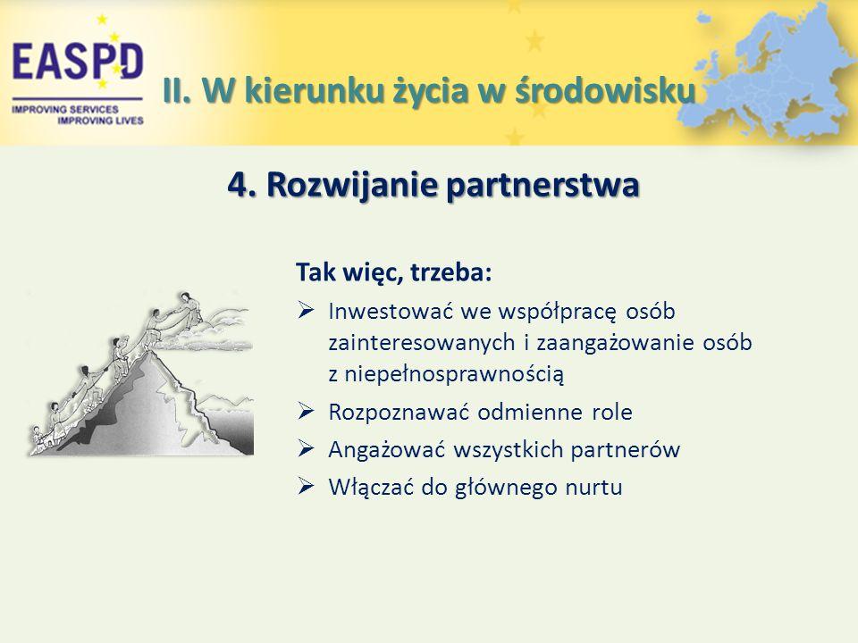4. Rozwijanie partnerstwa Tak więc, trzeba:  Inwestować we współpracę osób zainteresowanych i zaangażowanie osób z niepełnosprawnością  Rozpoznawać