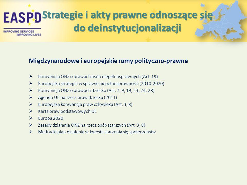 Strategie i akty prawne odnoszące się do deinstytucjonalizacji Międzynarodowe i europejskie ramy polityczno-prawne  Konwencja ONZ o prawach osób niepełnosprawnych (Art.