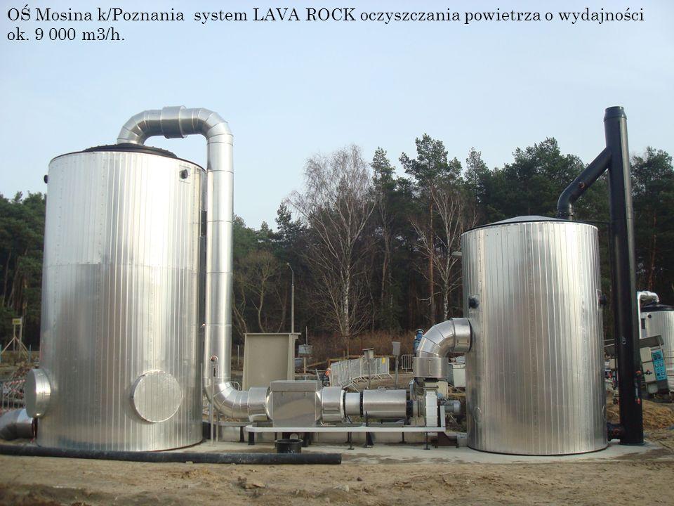 OŚ Mosina k/Poznania system LAVA ROCK oczyszczania powietrza o wydajności ok. 9 000 m3/h.