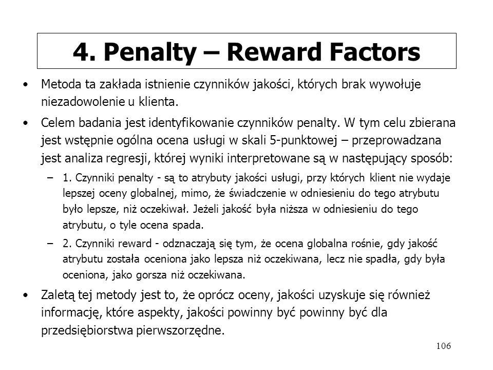 106 4. Penalty – Reward Factors Metoda ta zakłada istnienie czynników jakości, których brak wywołuje niezadowolenie u klienta. Celem badania jest iden