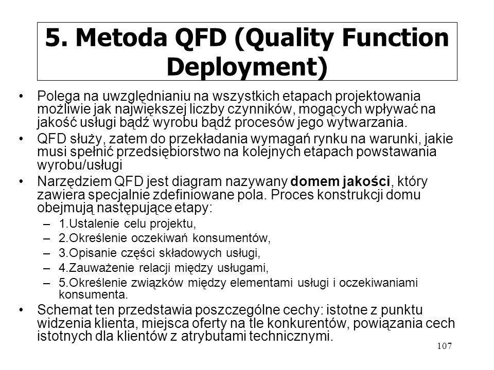 107 5. Metoda QFD (Quality Function Deployment) Polega na uwzględnianiu na wszystkich etapach projektowania możliwie jak największej liczby czynników,