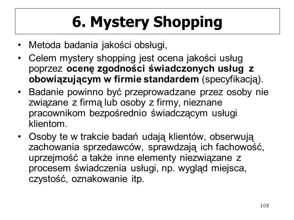 108 6. Mystery Shopping Metoda badania jakości obsługi, Celem mystery shopping jest ocena jakości usług poprzez ocenę zgodności świadczonych usług z o
