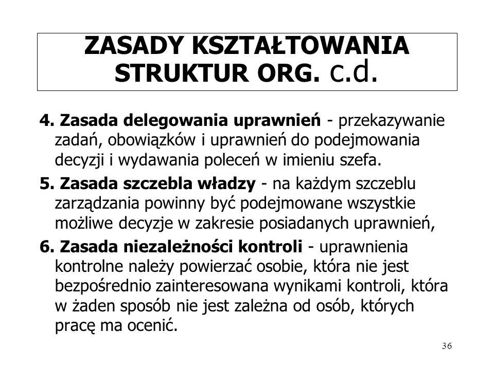 36 ZASADY KSZTAŁTOWANIA STRUKTUR ORG.c.d. 4.