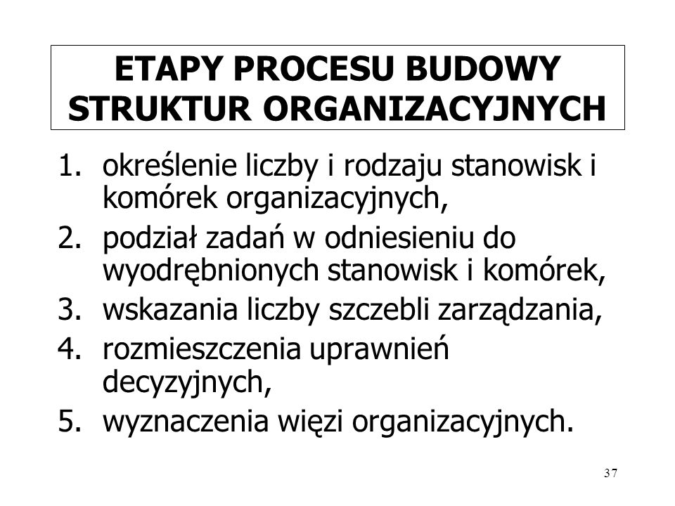 37 ETAPY PROCESU BUDOWY STRUKTUR ORGANIZACYJNYCH 1.określenie liczby i rodzaju stanowisk i komórek organizacyjnych, 2.podział zadań w odniesieniu do wyodrębnionych stanowisk i komórek, 3.wskazania liczby szczebli zarządzania, 4.rozmieszczenia uprawnień decyzyjnych, 5.wyznaczenia więzi organizacyjnych.