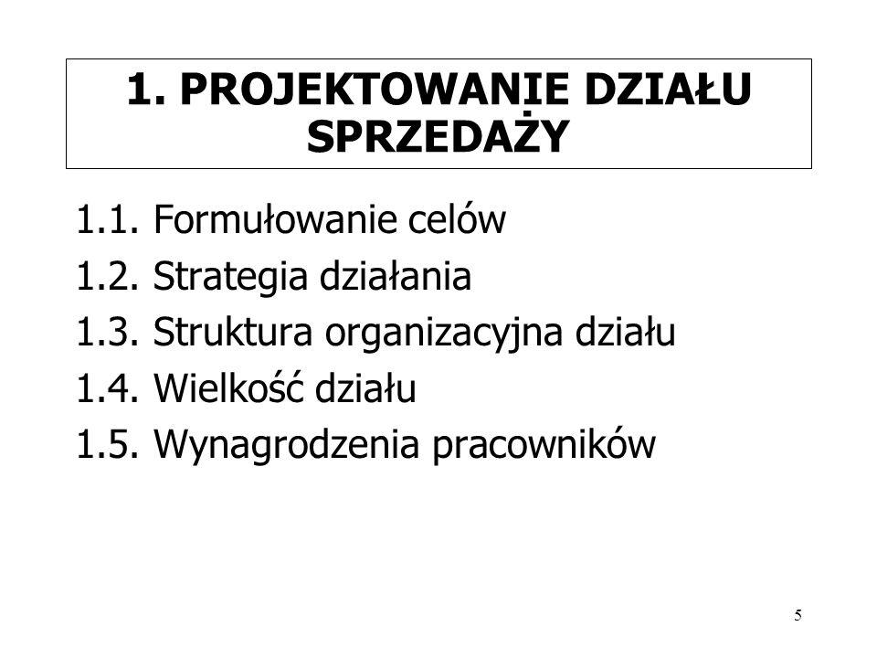 5 1. PROJEKTOWANIE DZIAŁU SPRZEDAŻY 1.1. Formułowanie celów 1.2. Strategia działania 1.3. Struktura organizacyjna działu 1.4. Wielkość działu 1.5. Wyn