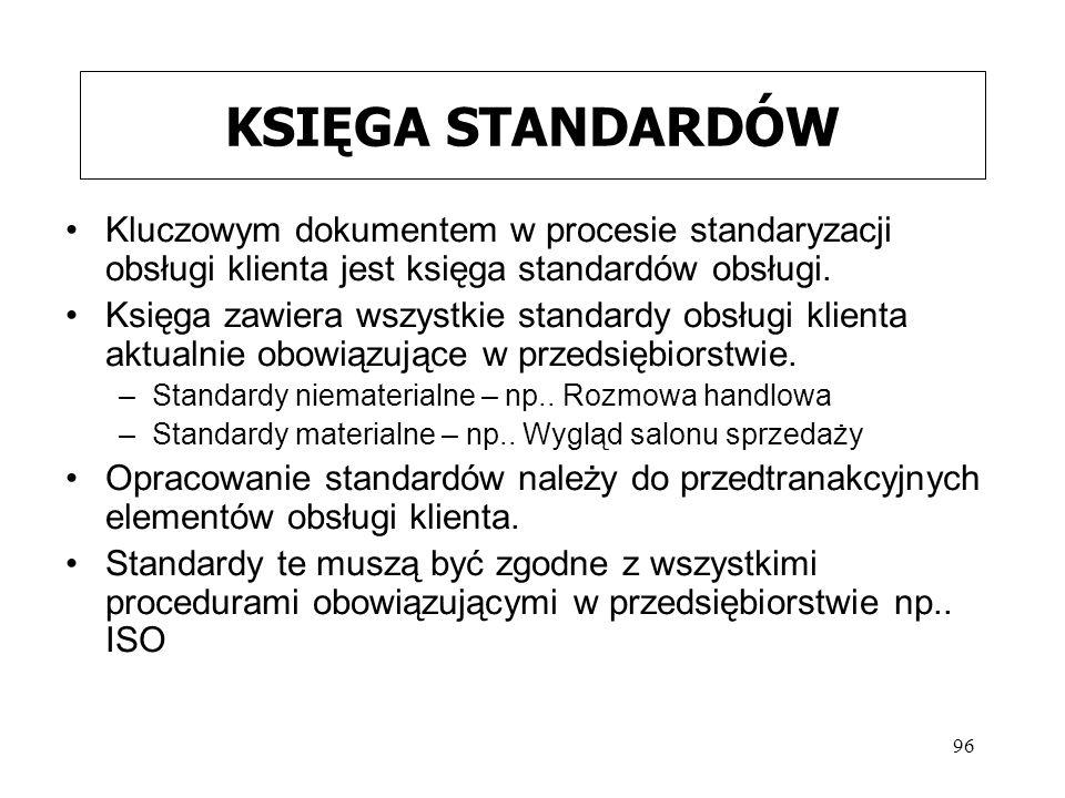 96 KSIĘGA STANDARDÓW Kluczowym dokumentem w procesie standaryzacji obsługi klienta jest księga standardów obsługi. Księga zawiera wszystkie standardy