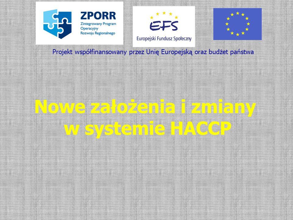 Nowe założenia i zmiany w systemie HACCP Projekt współfinansowany przez Unię Europejską oraz budżet państwa