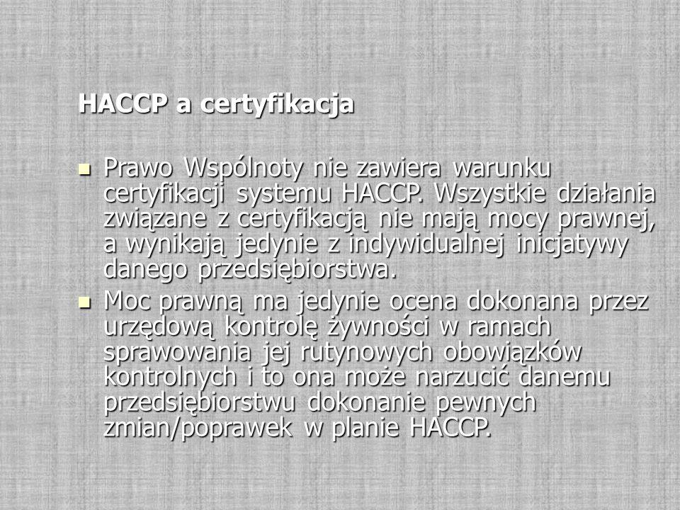 HACCP a certyfikacja Prawo Wspólnoty nie zawiera warunku certyfikacji systemu HACCP. Wszystkie działania związane z certyfikacją nie mają mocy prawnej