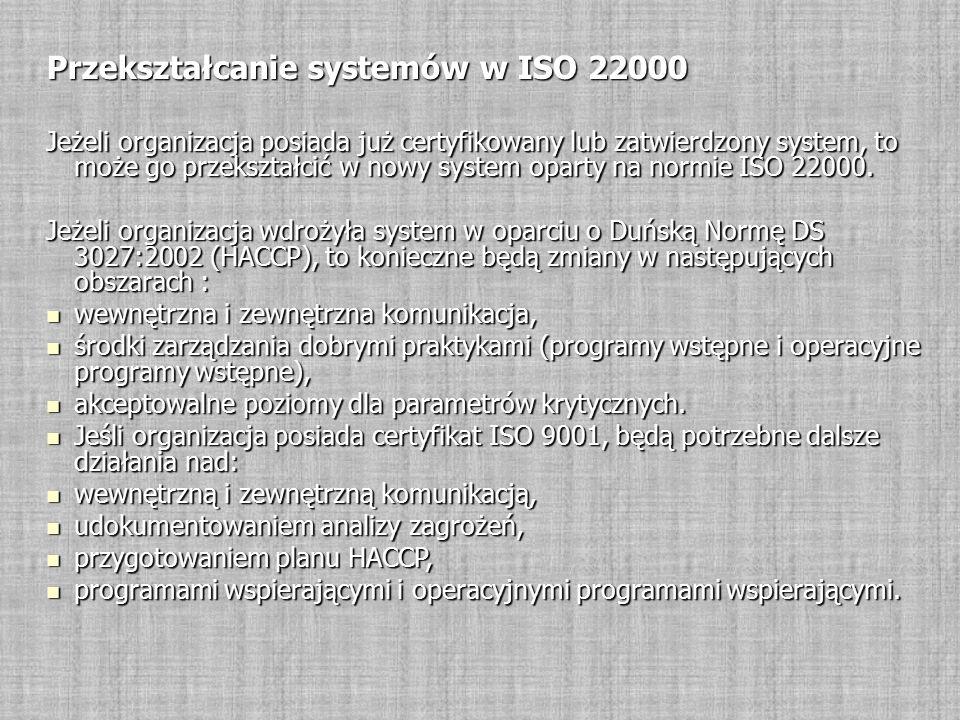 Przekształcanie systemów w ISO 22000 Jeżeli organizacja posiada już certyfikowany lub zatwierdzony system, to może go przekształcić w nowy system oparty na normie ISO 22000.