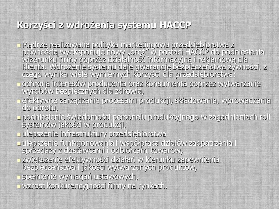 """Korzyści z wdrożenia systemu HACCP Mądrze realizowana polityka marketingowa przedsiębiorstwa z pewnością wyeksponuje nowy """"oręż w postaci HACCP do podniesienia wizerunku firmy poprzez działalność informacyjną i reklamową dla klienta."""