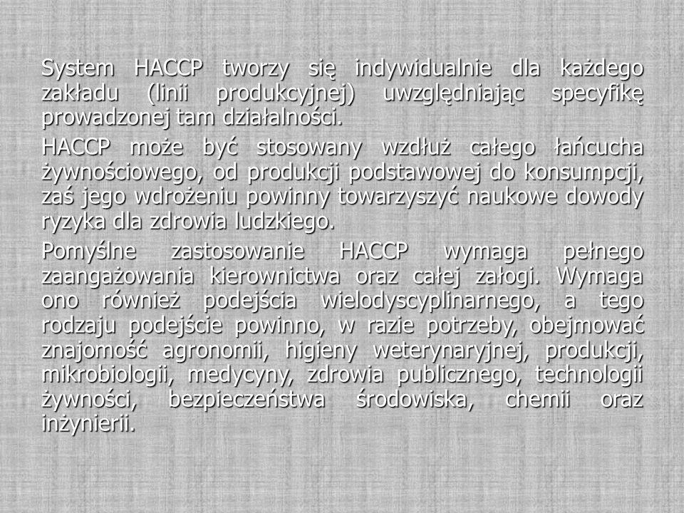 System HACCP tworzy się indywidualnie dla każdego zakładu (linii produkcyjnej) uwzględniając specyfikę prowadzonej tam działalności. HACCP może być st