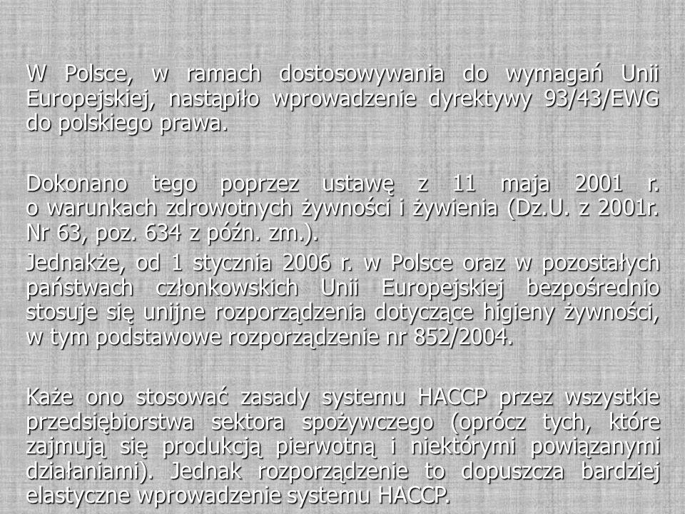 W Polsce, w ramach dostosowywania do wymagań Unii Europejskiej, nastąpiło wprowadzenie dyrektywy 93/43/EWG do polskiego prawa. Dokonano tego poprzez u