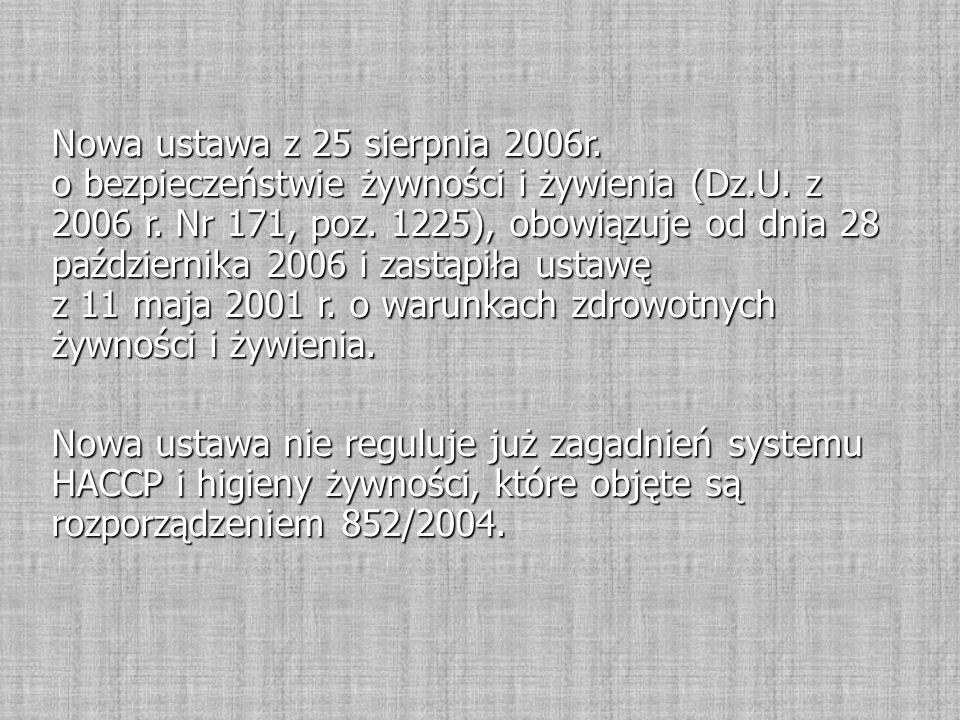 Nowa ustawa z 25 sierpnia 2006r.o bezpieczeństwie żywności i żywienia (Dz.U.