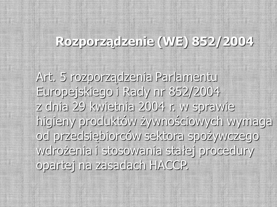 Rozporządzenie (WE) 852/2004 Art. 5 rozporządzenia Parlamentu Europejskiego i Rady nr 852/2004 z dnia 29 kwietnia 2004 r. w sprawie higieny produktów