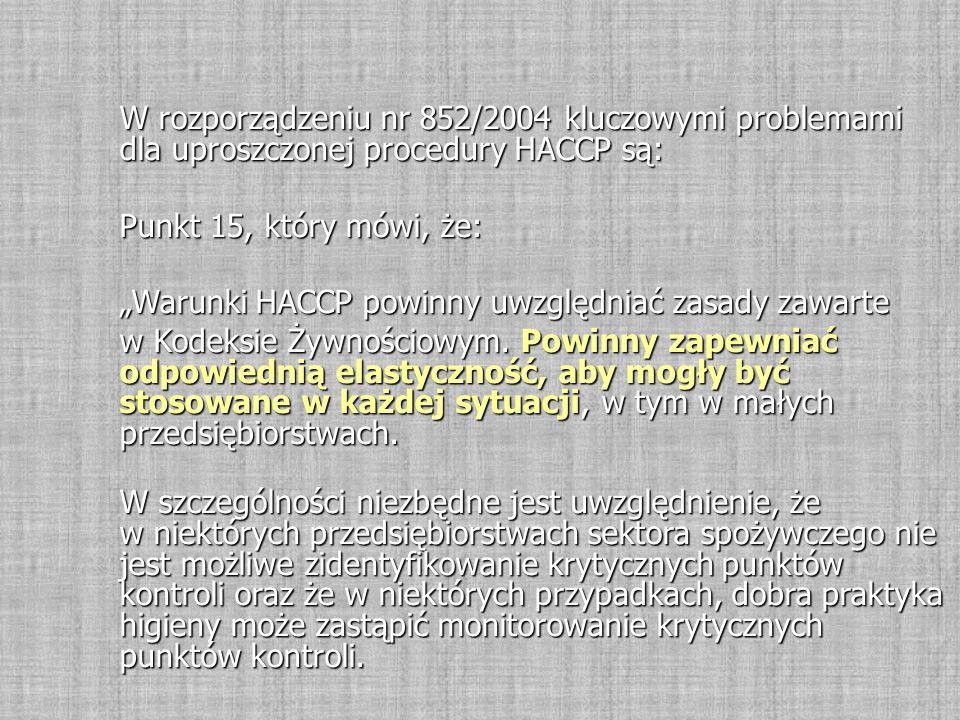 """W rozporządzeniu nr 852/2004 kluczowymi problemami dla uproszczonej procedury HACCP są: Punkt 15, który mówi, że: """"Warunki HACCP powinny uwzględniać zasady zawarte w Kodeksie Żywnościowym."""