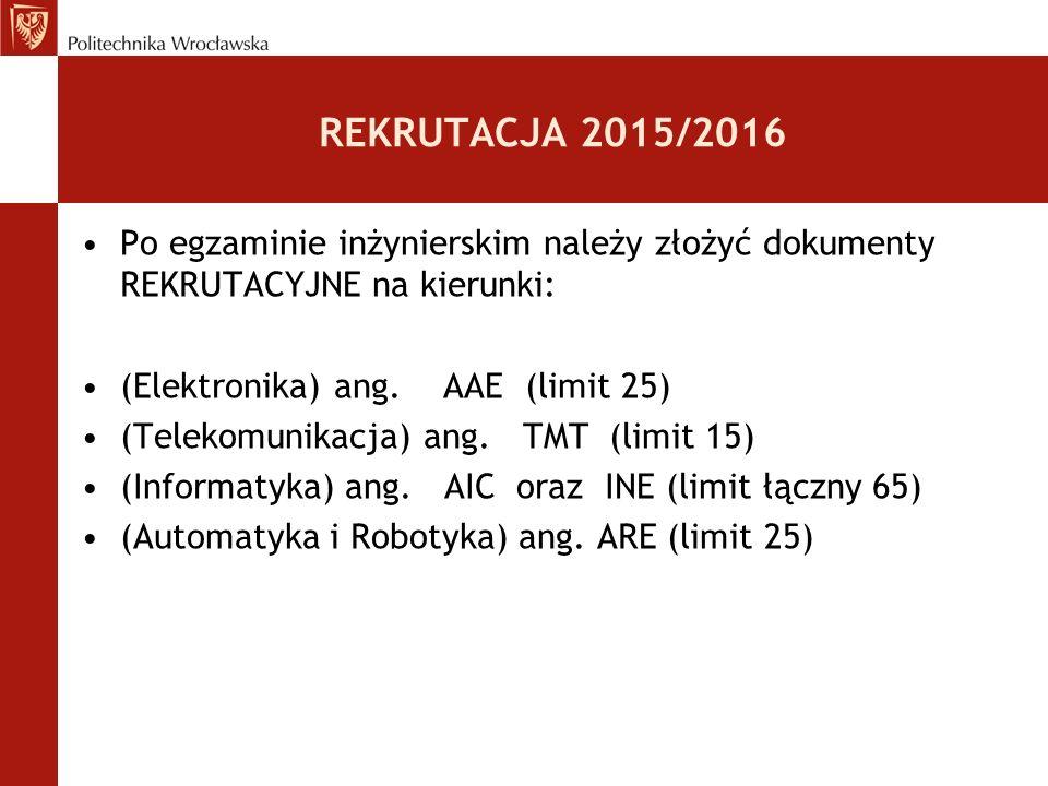 REKRUTACJA 2015/2016 Po egzaminie inżynierskim należy złożyć dokumenty REKRUTACYJNE na kierunki: (Elektronika) ang. AAE (limit 25) (Telekomunikacja) a