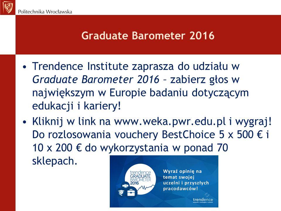 Graduate Barometer 2016 Trendence Institute zaprasza do udziału w Graduate Barometer 2016 – zabierz głos w największym w Europie badaniu dotyczącym edukacji i kariery.