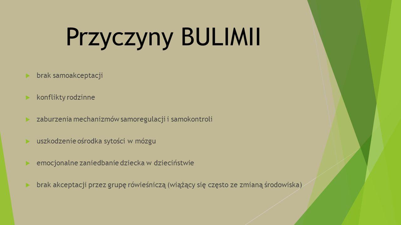 Przyczyny BULIMII  brak samoakceptacji  konflikty rodzinne  zaburzenia mechanizmów samoregulacji i samokontroli  uszkodzenie ośrodka sytości w móz