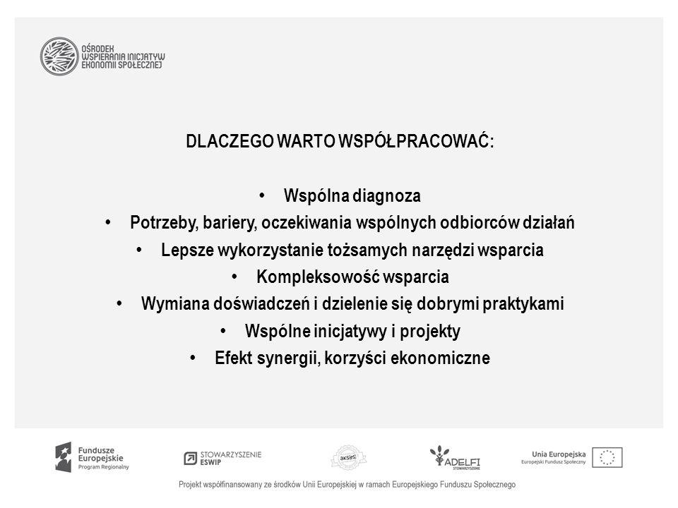 DLACZEGO WARTO WSPÓŁPRACOWAĆ: Wspólna diagnoza Potrzeby, bariery, oczekiwania wspólnych odbiorców działań Lepsze wykorzystanie tożsamych narzędzi wsparcia Kompleksowość wsparcia Wymiana doświadczeń i dzielenie się dobrymi praktykami Wspólne inicjatywy i projekty Efekt synergii, korzyści ekonomiczne