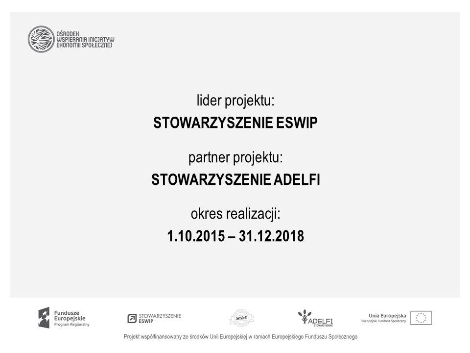 lider projektu: STOWARZYSZENIE ESWIP partner projektu: STOWARZYSZENIE ADELFI okres realizacji: 1.10.2015 – 31.12.2018