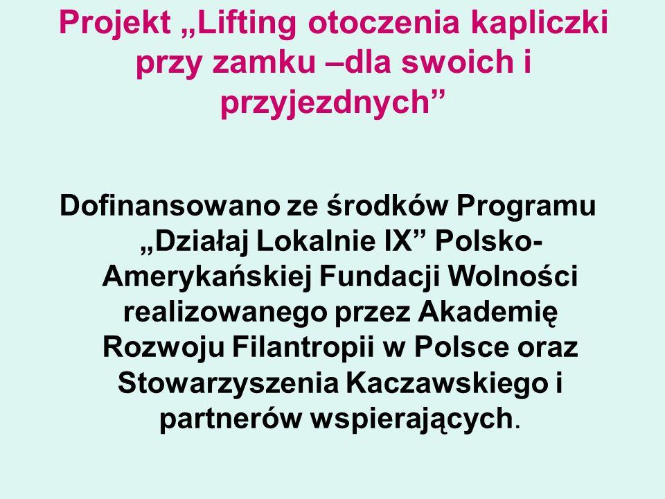 """Projekt """"Lifting otoczenia kapliczki przy zamku –dla swoich i przyjezdnych Dofinansowano ze środków Programu """"Działaj Lokalnie IX Polsko- Amerykańskiej Fundacji Wolności realizowanego przez Akademię Rozwoju Filantropii w Polsce oraz Stowarzyszenia Kaczawskiego i partnerów wspierających."""