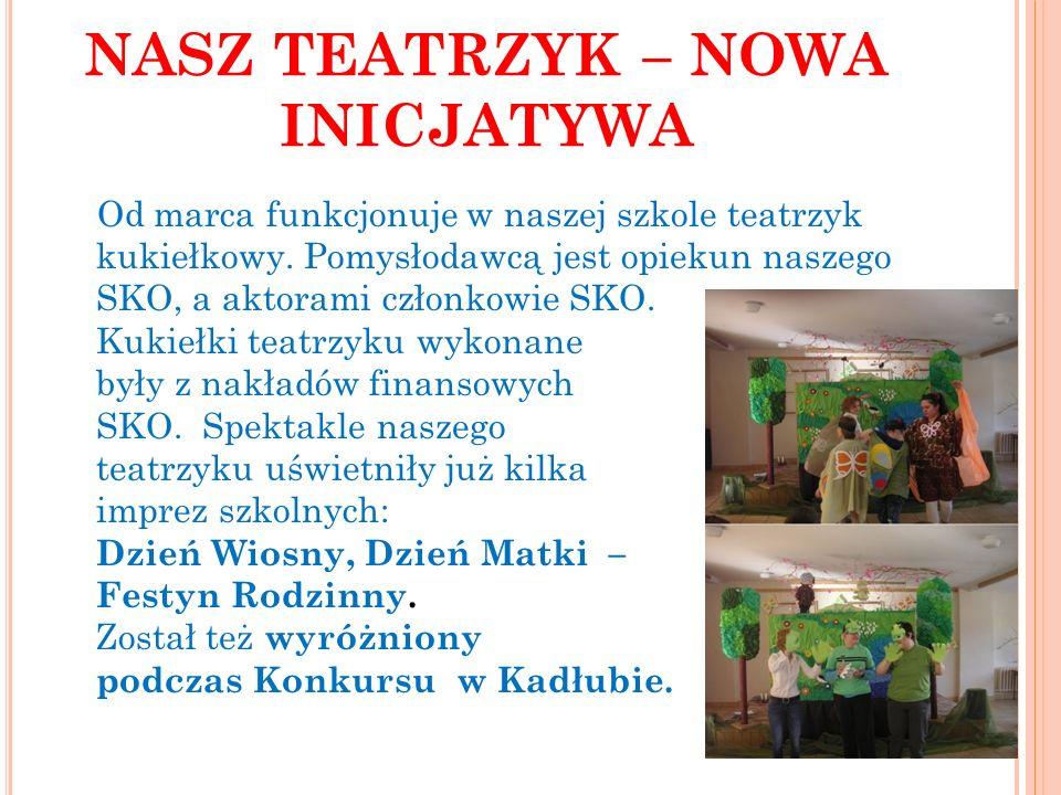NASZ TEATRZYK – NOWA INICJATYWA Od marca funkcjonuje w naszej szkole teatrzyk kukiełkowy. Pomysłodawcą jest opiekun naszego SKO, a aktorami członkowie