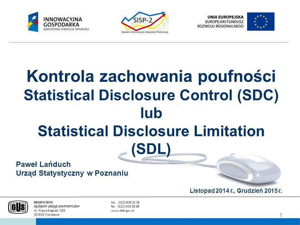 2 Cele i potrzeby:  Publikowanie danych na jak najbardziej szczegółowych poziomach Zapewnienie poufności indywidualnych danych statystycznych stąd Poszukiwanie metod ochrony danych, które pogodzą dwa sprzeczne cele