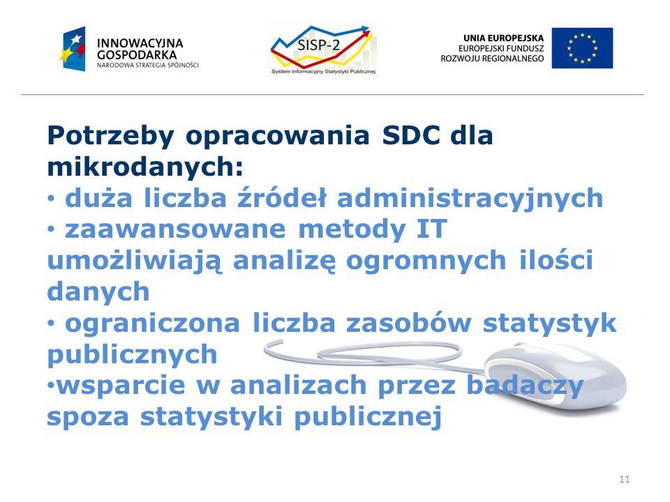 11 Potrzeby opracowania SDC dla mikrodanych: duża liczba źródeł administracyjnych zaawansowane metody IT umożliwiają analizę ogromnych ilości danych ograniczona liczba zasobów statystyk publicznych wsparcie w analizach przez badaczy spoza statystyki publicznej