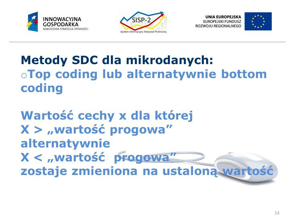 """14 Metody SDC dla mikrodanych: o Top coding lub alternatywnie bottom coding Wartość cechy x dla której X > """"wartość progowa alternatywnie X < """"wartość progowa zostaje zmieniona na ustaloną wartość"""