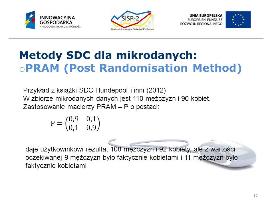 17 Metody SDC dla mikrodanych: o PRAM (Post Randomisation Method) Przykład z książki SDC Hundepool i inni (2012) W zbiorze mikrodanych danych jest 110 mężczyzn i 90 kobiet.