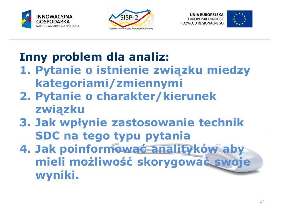27 Inny problem dla analiz: 1.Pytanie o istnienie związku miedzy kategoriami/zmiennymi 2.Pytanie o charakter/kierunek związku 3.Jak wpłynie zastosowanie technik SDC na tego typu pytania 4.Jak poinformować analityków aby mieli możliwość skorygować swoje wyniki.