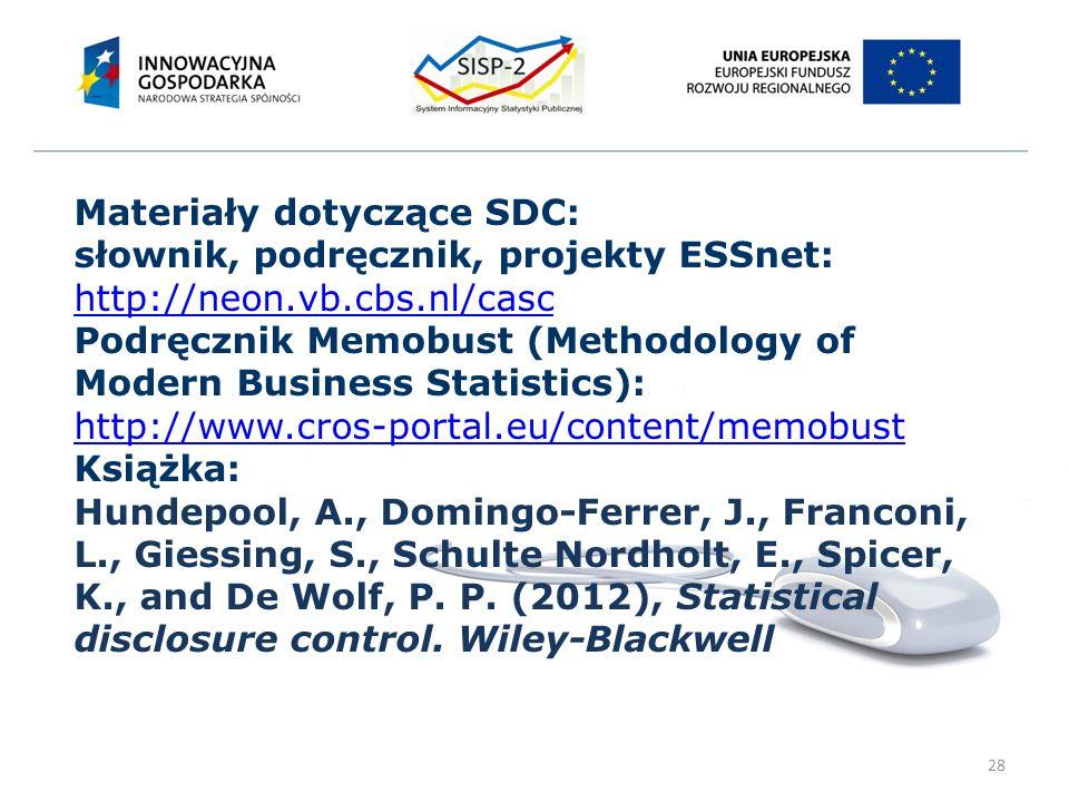 28 Materiały dotyczące SDC: słownik, podręcznik, projekty ESSnet: http://neon.vb.cbs.nl/casc Podręcznik Memobust (Methodology of Modern Business Statistics): http://www.cros-portal.eu/content/memobust Książka: Hundepool, A., Domingo-Ferrer, J., Franconi, L., Giessing, S., Schulte Nordholt, E., Spicer, K., and De Wolf, P.