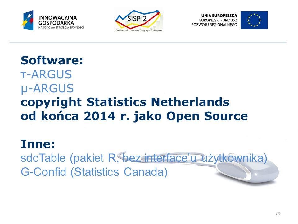 29 Software: τ-ARGUS μ-ARGUS copyright Statistics Netherlands od końca 2014 r.