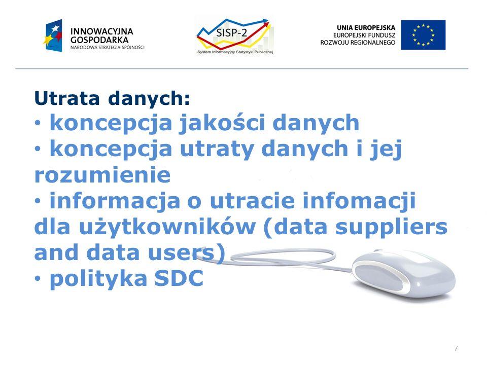 7 Utrata danych: koncepcja jakości danych koncepcja utraty danych i jej rozumienie informacja o utracie infomacji dla użytkowników (data suppliers and data users) polityka SDC