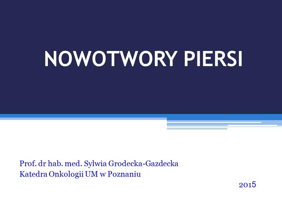 NOWOTWORY PIERSI Prof. dr hab. med. Sylwia Grodecka-Gazdecka Katedra Onkologii UM w Poznaniu 201 5