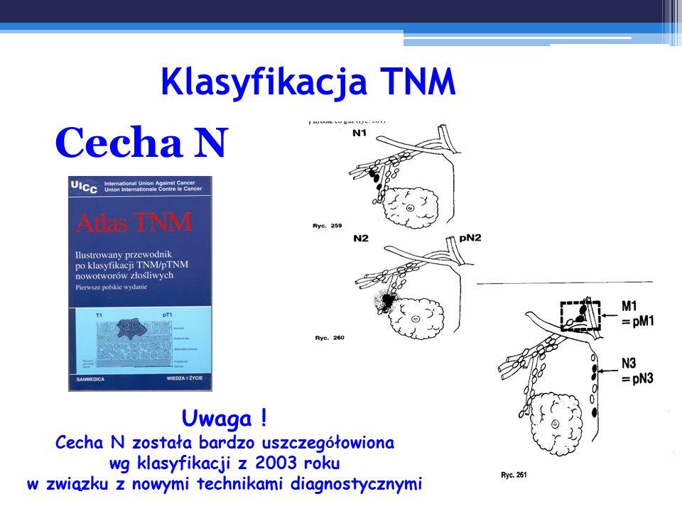 Klasyfikacja TNM Cecha N Uwaga ! Cecha N została bardzo uszczeg ó łowiona wg klasyfikacji z 2003 roku w związku z nowymi technikami diagnostycznymi