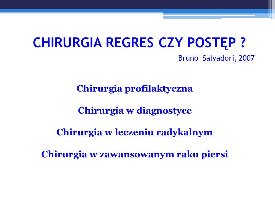 Chirurgia profilaktyczna Chirurgia w diagnostyce Chirurgia w leczeniu radykalnym Chirurgia w zawansowanym raku piersi CHIRURGIA REGRES CZY POSTĘP .