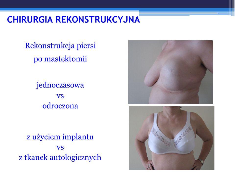 CHIRURGIA REKONSTRUKCYJNA Rekonstrukcja piersi po mastektomii jednoczasowa vs odroczona z użyciem implantu vs z tkanek autologicznych