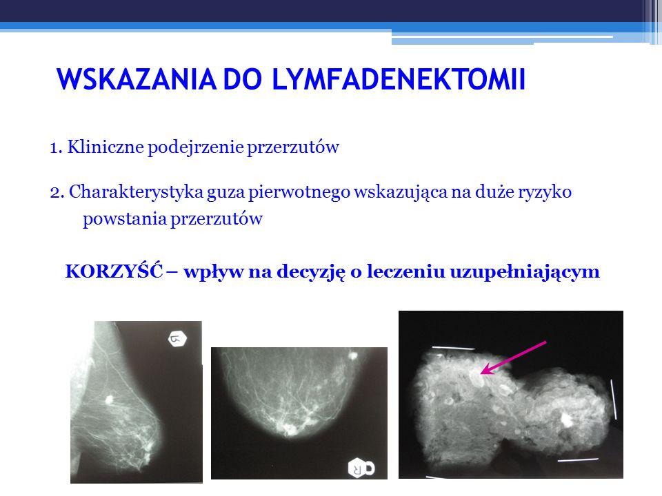 WSKAZANIA DO LYMFADENEKTOMII 1. Kliniczne podejrzenie przerzutów 2. Charakterystyka guza pierwotnego wskazująca na duże ryzyko powstania przerzutów KO