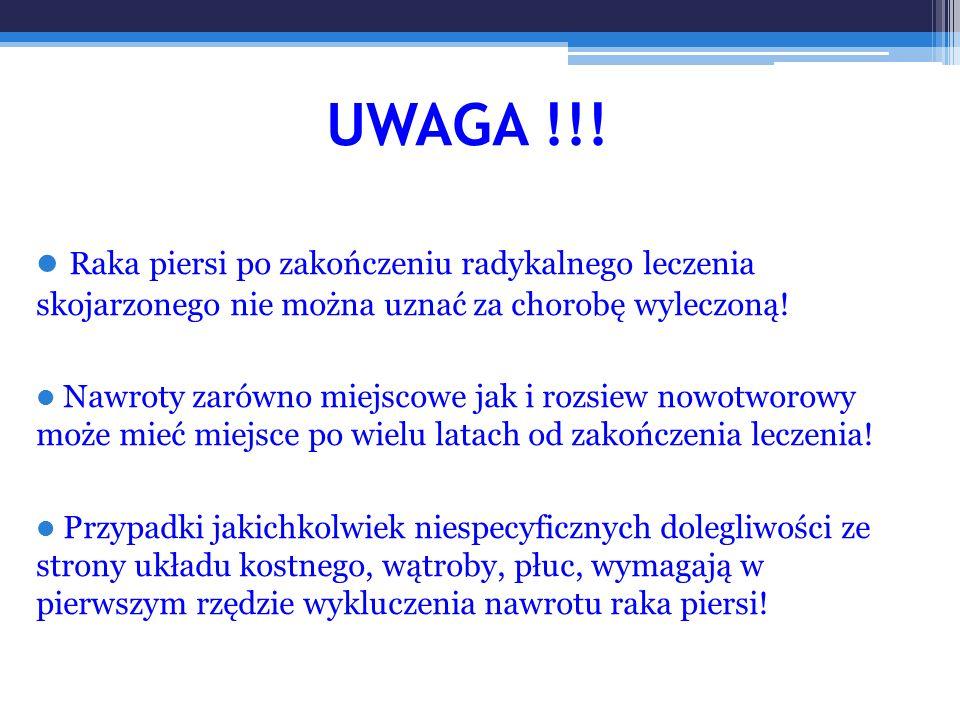 UWAGA !!! Raka piersi po zakończeniu radykalnego leczenia skojarzonego nie można uznać za chorobę wyleczoną! Nawroty zarówno miejscowe jak i rozsiew n