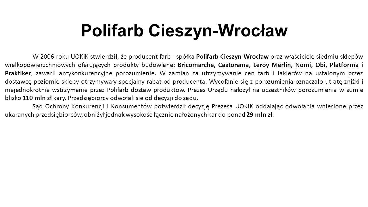 Polifarb Cieszyn-Wrocław W 2006 roku UOKiK stwierdził, że producent farb - spółka Polifarb Cieszyn-Wrocław oraz właściciele siedmiu sklepów wielkopowierzchniowych oferujących produkty budowlane: Bricomarche, Castorama, Leroy Merlin, Nomi, Obi, Platforma i Praktiker, zawarli antykonkurencyjne porozumienie.