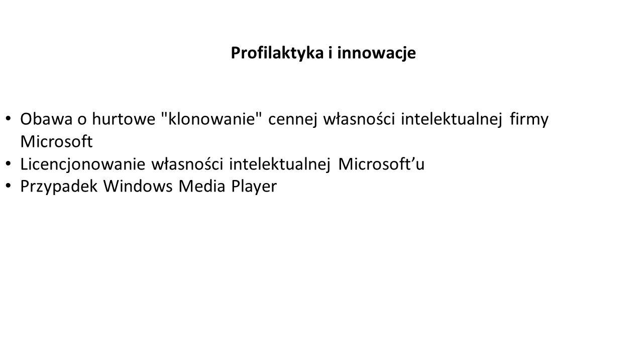 Profilaktyka i innowacje Obawa o hurtowe klonowanie cennej własności intelektualnej firmy Microsoft Licencjonowanie własności intelektualnej Microsoft'u Przypadek Windows Media Player