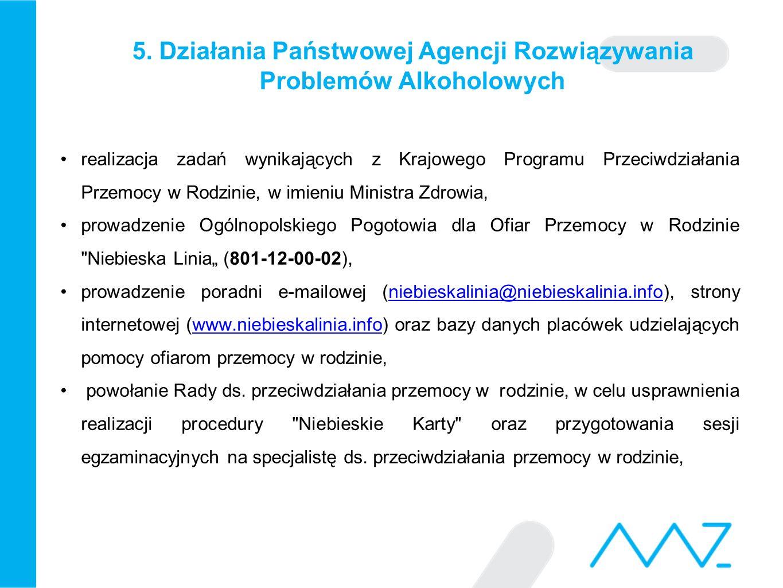 5. Działania Państwowej Agencji Rozwiązywania Problemów Alkoholowych realizacja zadań wynikających z Krajowego Programu Przeciwdziałania Przemocy w Ro