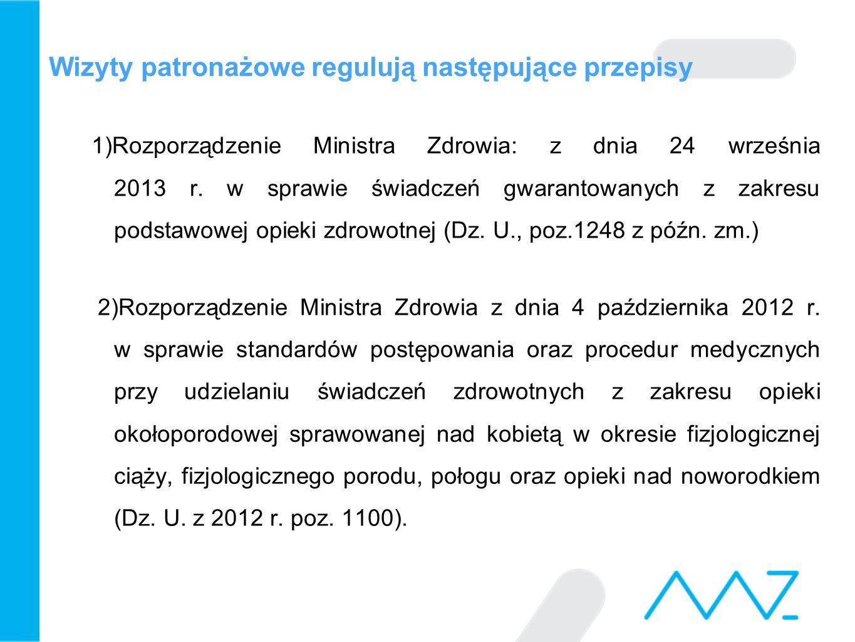 Wizyty patronażowe regulują następujące przepisy 1)Rozporządzenie Ministra Zdrowia: z dnia 24 września 2013 r. w sprawie świadczeń gwarantowanych z za