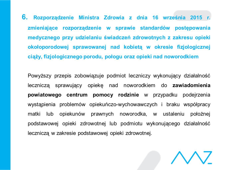 6. Rozporządzenie Ministra Zdrowia z dnia 16 września 2015 r. zmieniające rozporządzenie w sprawie standardów postępowania medycznego przy udzielaniu