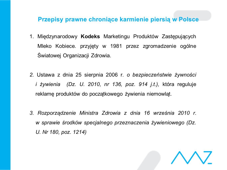 Przepisy prawne chroniące karmienie piersią w Polsce 1.Międzynarodowy Kodeks Marketingu Produktów Zastępujących Mleko Kobiece. przyjęty w 1981 przez z