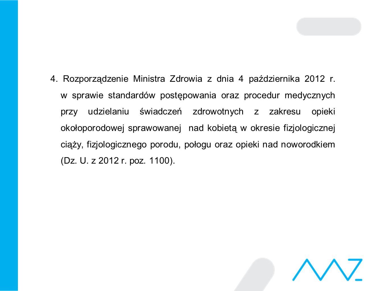 4. Rozporządzenie Ministra Zdrowia z dnia 4 października 2012 r. w sprawie standardów postępowania oraz procedur medycznych przy udzielaniu świadczeń