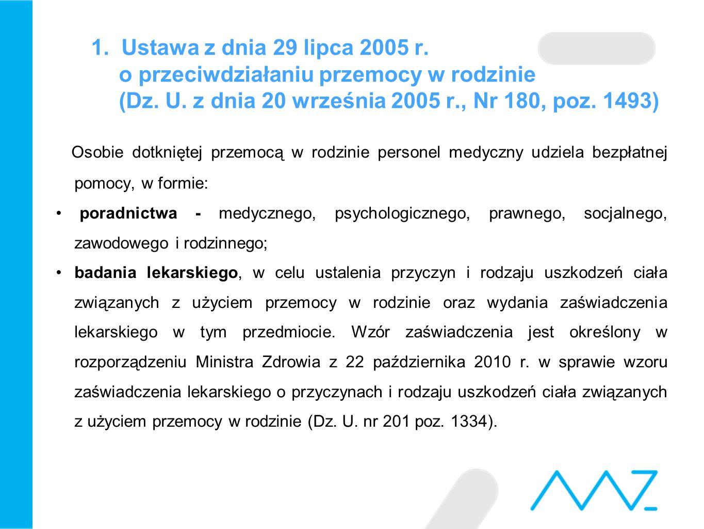 1. Ustawa z dnia 29 lipca 2005 r. o przeciwdziałaniu przemocy w rodzinie (Dz. U. z dnia 20 września 2005 r., Nr 180, poz. 1493) Osobie dotkniętej prze