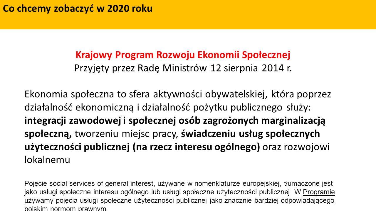 Krajowy Program Rozwoju Ekonomii Społecznej Przyjęty przez Radę Ministrów 12 sierpnia 2014 r.